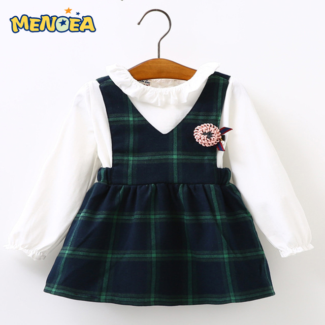 Menoea Baby Girls Dress 2017 Brand Girls Clothing Sets Kids Clothes Plaid Pattern Toddler Girl Long Sleeve Baby Dress Suits