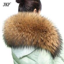 Большой Размеры из натурального енота меховой воротник Для женщин шарф зимнее пальто Кепки длинное теплое пальто из натуральной меховой шарф
