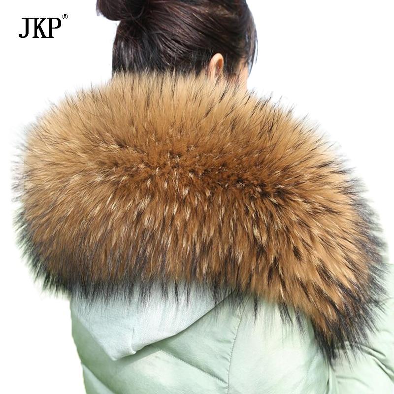 Tamanho grande 100% Real Natural Raccoon Fur Collar Mulheres Cachecol Cap Casaco de Inverno Longo Quente Genuine Cachecol De Pele Real