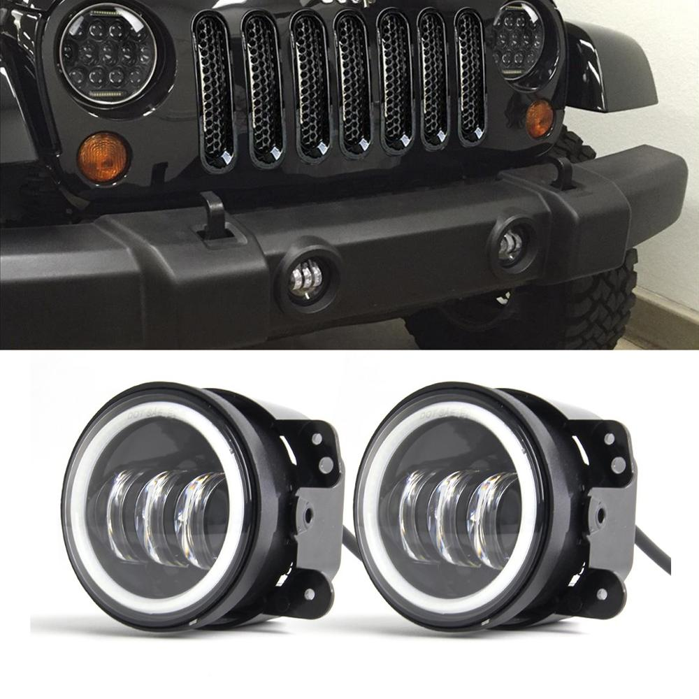"1 Pair 4/"" 30W LED Fog Light with RGB Halo Angel Ring for Jeep Wrangler Dodge"