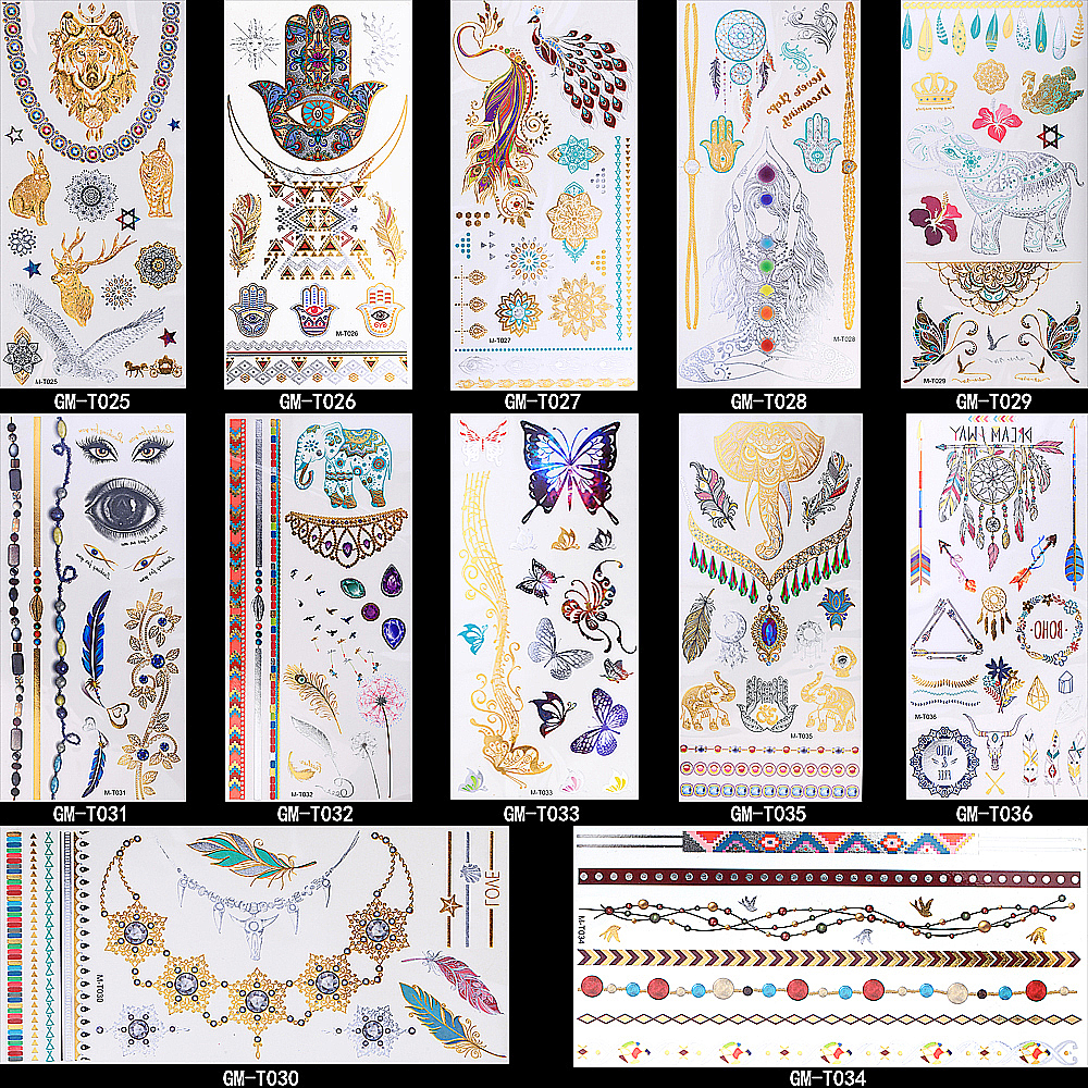 12 Design 1pc Gold Temporary Flash Metal Tattoo