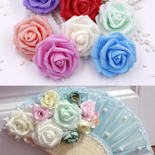 5CM foam rose artificial flowers DIY wreaths and wedding decoration party beautiful PE 5PCS/bag