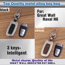 Высокое Качество стайлинга автомобилей обложка кожа + Цинковый сплав Металла ключи мешок брелок Бумажник Умный 1 шт. для Great Wall Haval H6