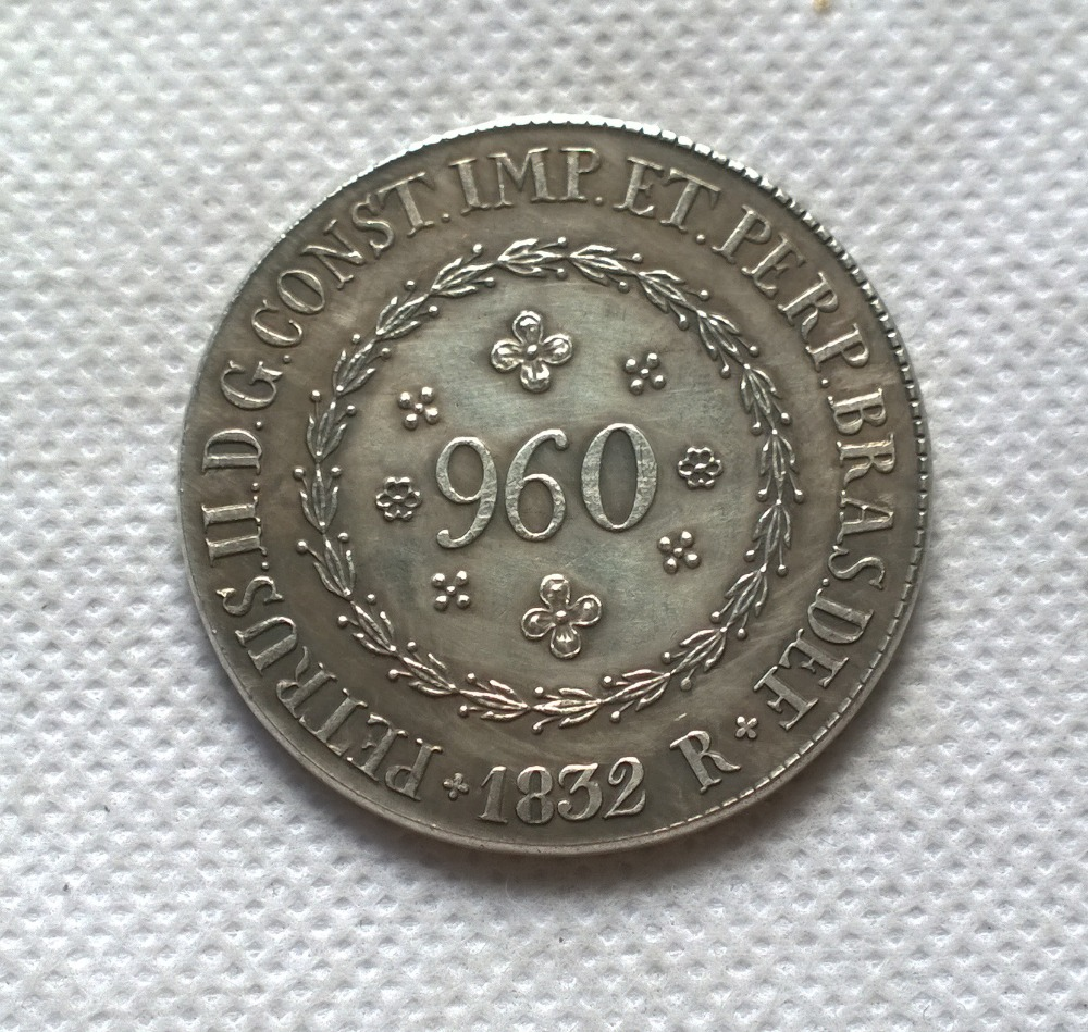 1832 Бразилия 960 Reis МОНЕТА КОПИЯ БЕСПЛАТНАЯ ДОСТАВКА