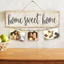 Vintage Sweet Home Letter Printed Wooden Wall Hanging Decor Photo Clip Ornament