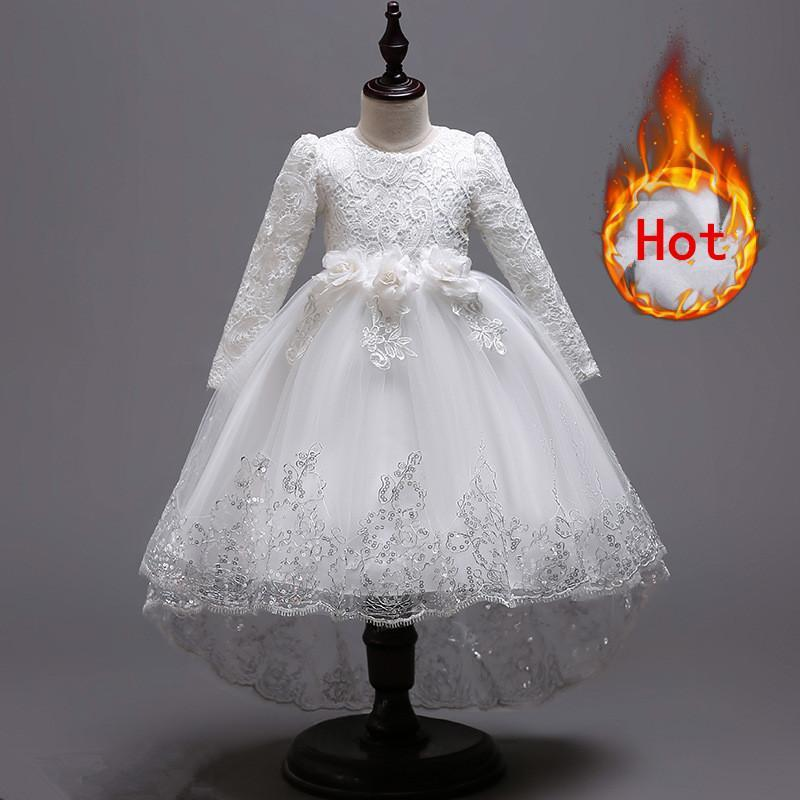 2019 Christmas Girls Dresses Long sleeve Bud silk bowknot Clothes Wedding Party Dress For Girl Childrens Princess Dresses2019 Christmas Girls Dresses Long sleeve Bud silk bowknot Clothes Wedding Party Dress For Girl Childrens Princess Dresses