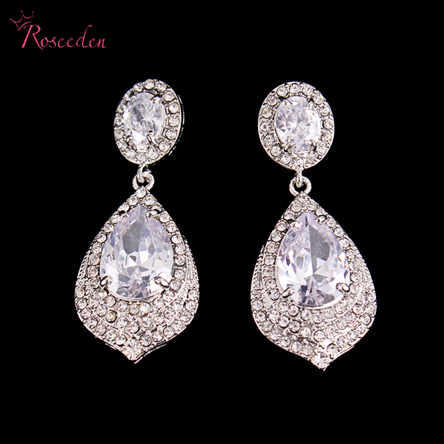 100 Zircon Wedding Earrings Shiny Waterdrop Teardrop For Women High Quality Bridal Luxury Dress