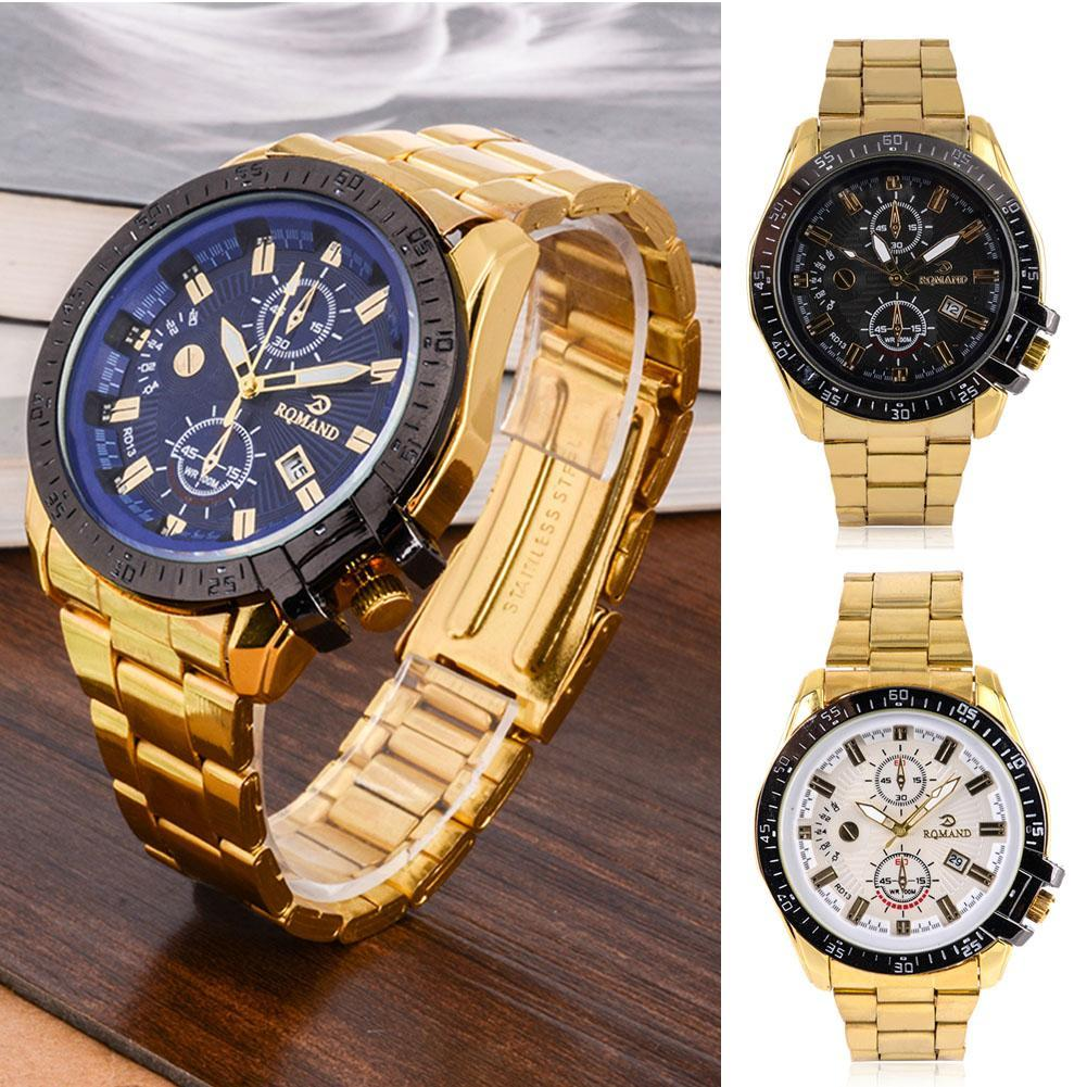 Hot Sale Luxury Mens Round Dial Big Dial Gold Stainless Steel Date Quartz Analog Sport Business Wrist Watch 2016 attractive hot sale mens stainless steel case sport black pu leather lcd digital quartz wrist watch sp17