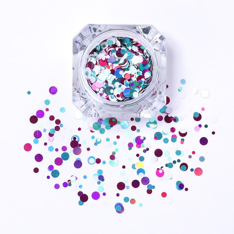 1 Box Glänzende Runde Ultradünne Pailletten Bunte Nail art Glitter - Nagel Kunst - Foto 2
