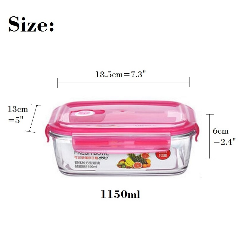 Aliexpress.com : Buy Glass Lunch Boxes Microwabable Leakproof Bento Box  With Hole,Glass Food Storage Containers Pink Color 680/700/900/1100/1150ml  From ...
