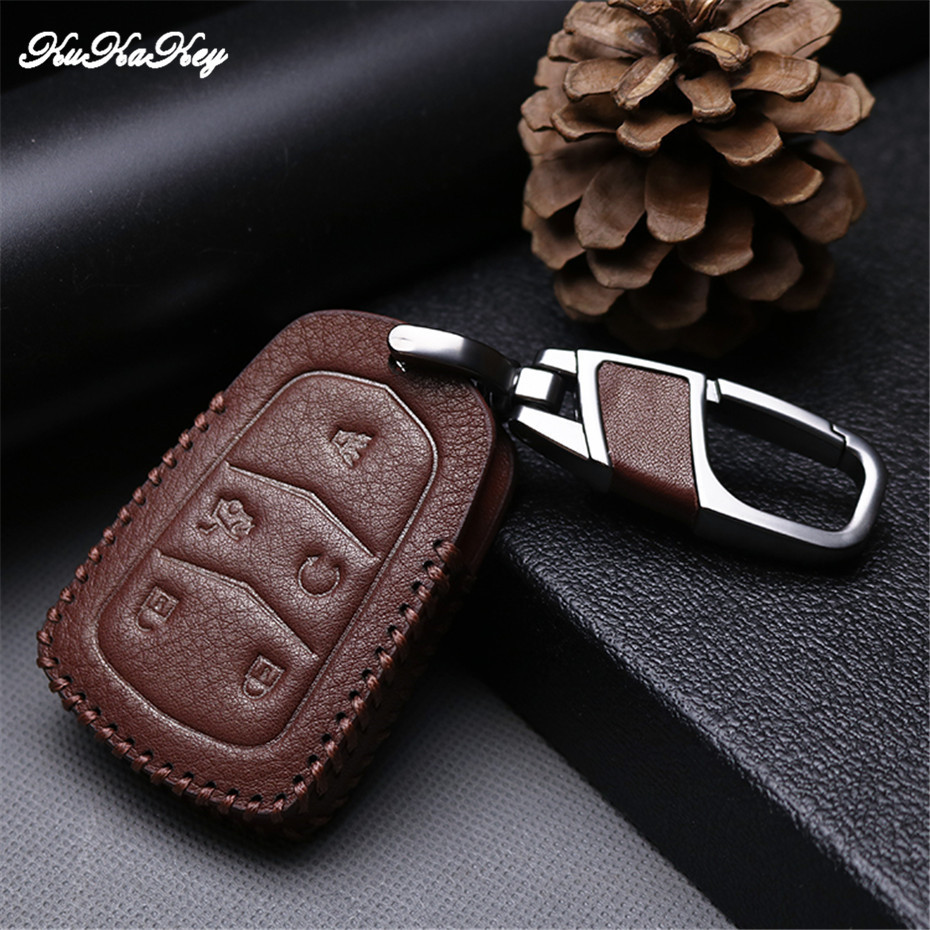 2018 Fashion Brown Leather Key Case Cover Keychain For Cadillac Escalade ESV XTS ATS CTS SRX 6BT CT6 ATS-L XT5 BLS Accessories