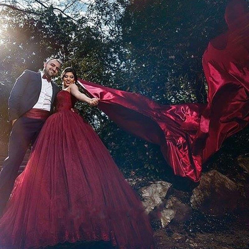 Unique Marsala Burgundy Lace Wedding Dresses 2017 Sweetheart Beaded ...