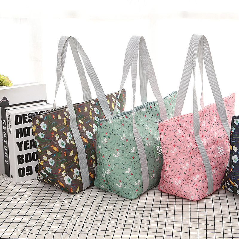 1PC New Fresh Insulation Cold Bags Thermal Oxford Foldable Lunch Bag Waterproof Convenient Leisure Bag Large Capacity Lunch Tote