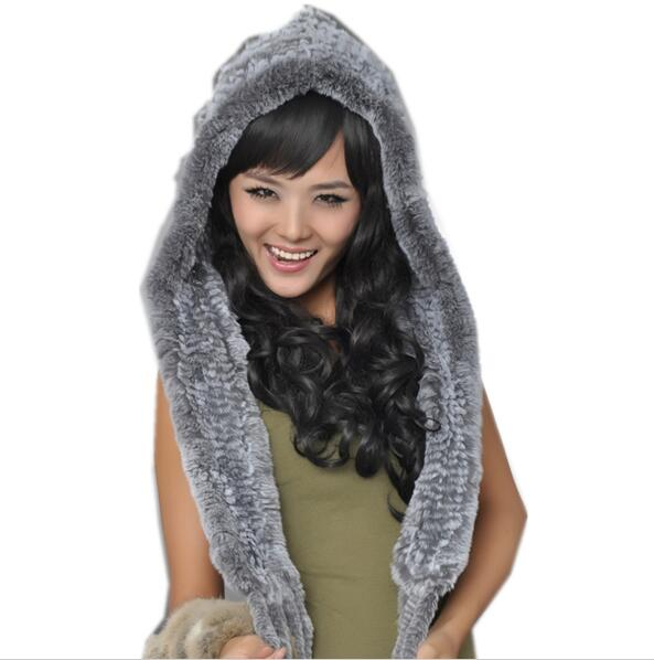 New Genuine Knitted Rex Rabbit Fur Hat Fashion Ear Muff Ear Warmer Scarf Cap Winter Rabbit Fur Scarves
