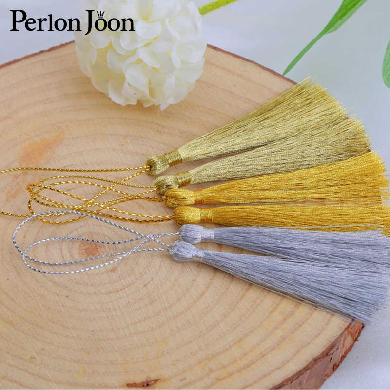 20PCs 13CM Gold/Silver Key Tassel Fringe ผ้าไหมจี้ Tassels ตกแต่งสำหรับเครื่องประดับ DIY การ์ดผ้าม่านเสื้อผ้า