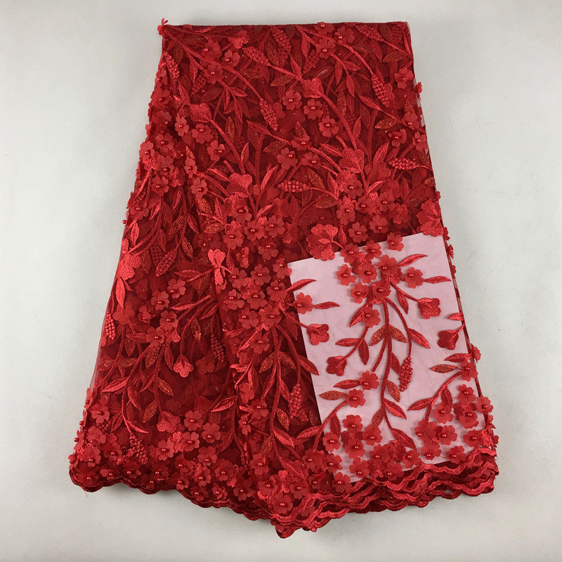 French Lace Fabric Red Wedding High Quality African 092Tulle Lace Fabric 3d Flowers Embroidered Tulle Lace