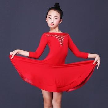 Latin Dance Dress Girls Ice Silk Red Long Sleeve Kids Rumba Cha Cha Samba Clothing Competition Performance Wear Children DN3089