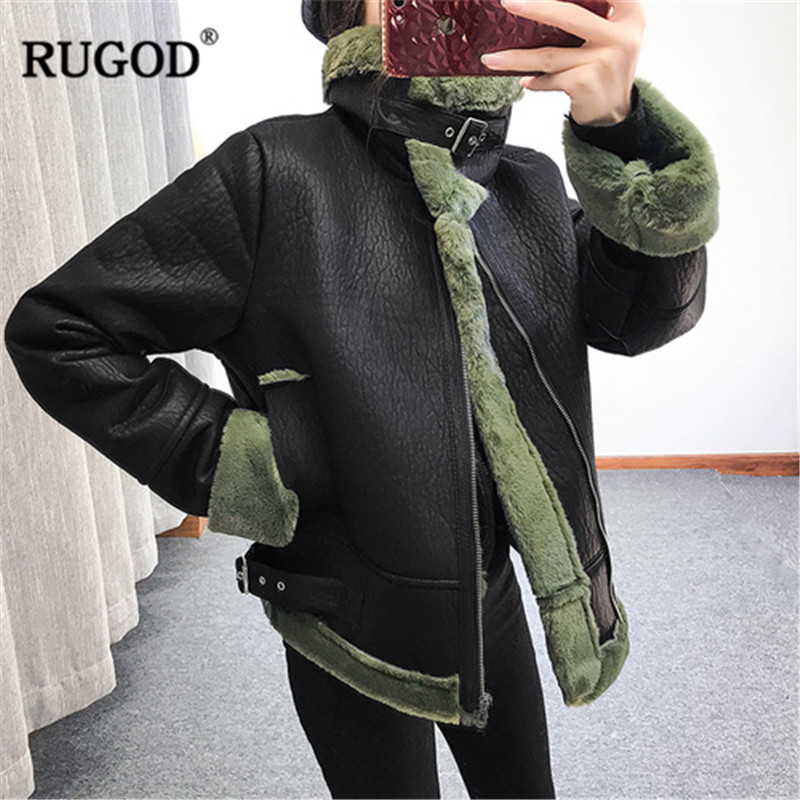 RUGOD Moto Biker   Leather   Women Jacket Coat Fashion Thick Warm Winter Clothes with Zipper manteau femme hiver 2018