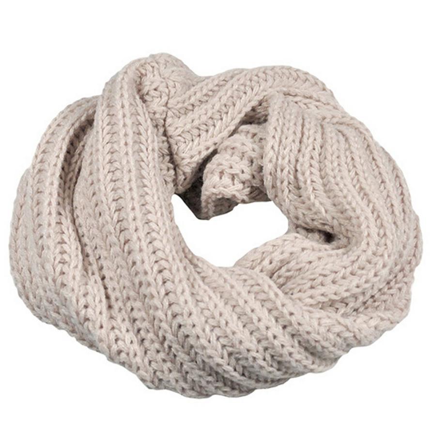 Осенне-зимний вязаный шерстяной шарф-шаль для мальчиков и девочек, теплый зимний шарф с воротником, Прямая поставка - Цвет: Beige