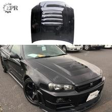 For Nissan Skyline R34 GTR Carbon Fiber Hood Body Auto Kit Tuning Part For Skyline GTR R34 Carbon Nismo Hood цена