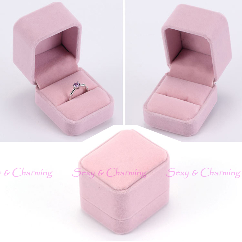 Fashion Lovely Pink Luxury Flannelette Wedding Gift Box for Jewelry Ring Ear Studs Storage Display Packaging Boxes Case No.1