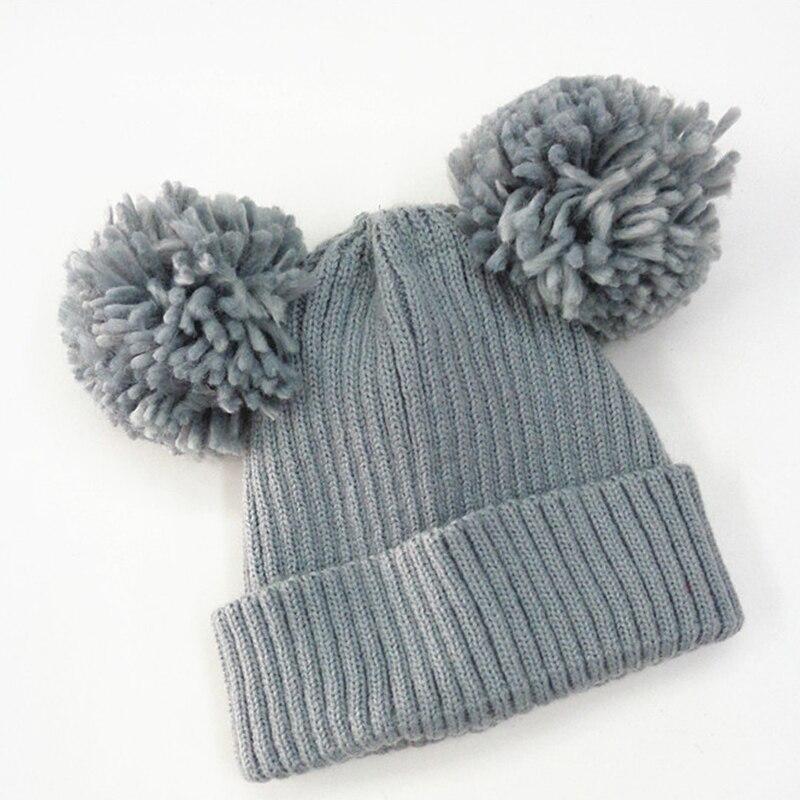 Fack Fur Baby Kint Hat Boy Girl Children Dual Ball Knit Sweater Cap Winter Hats Kinted Crochet Beanie Caps Thermal kids