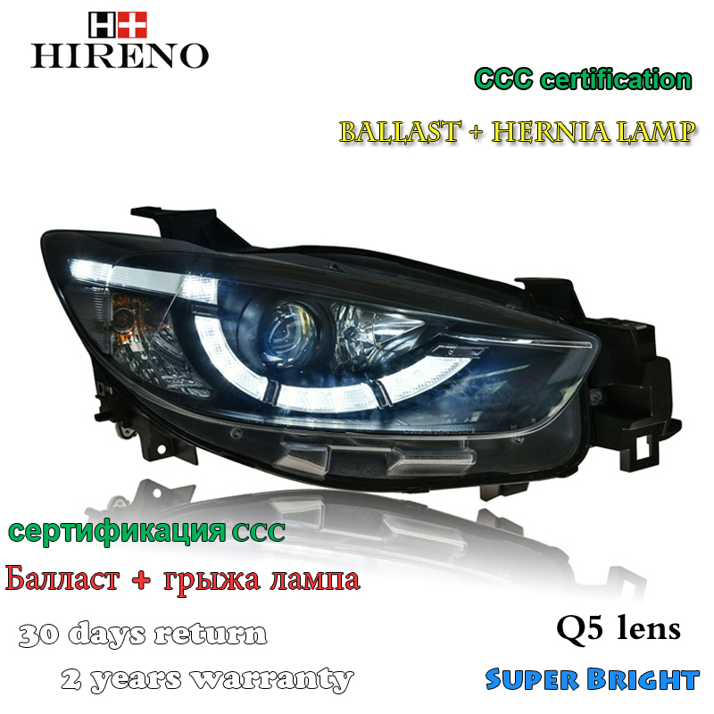Hireno Headlamp for 2012-2016 Mazda CX-5 Headlight Assembly LED DRL Angel Lens Double Beam HID Xenon 2pcs 2pcs purple blue red green led demon eyes for bixenon projector lens hella5 q5 2 5inch and 3 0inch headlight angel devil demon