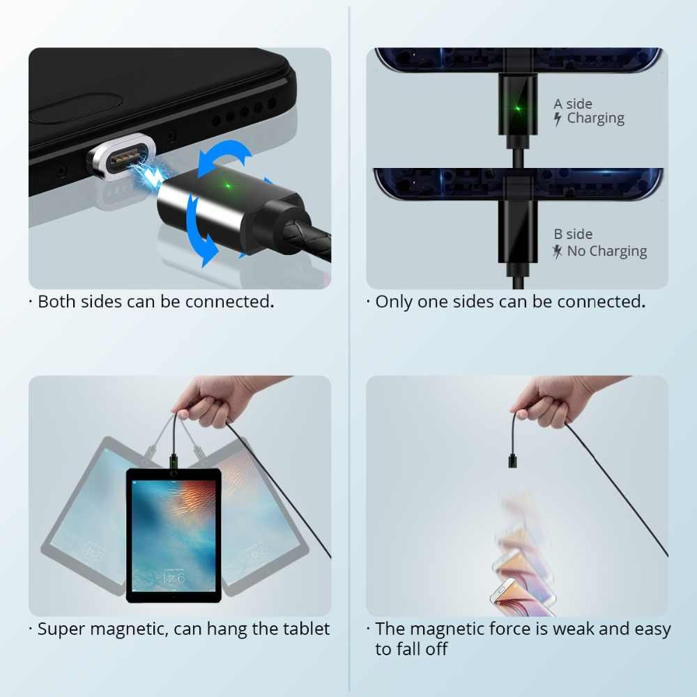 FONKEN 磁気マイクロ USB ケーブルマグネット Usb タイプ C 電話機の充電ケーブル 3A 携帯クイックチャージャーコードの Android 高速データケーブル