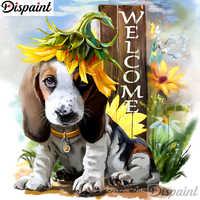"""Dispaint 5D DIY Полная Алмазная вышивка """"Собака цветок пейзаж"""" Алмазная картина вышивка крестиком украшения для дом из горного хрусталя A11027"""