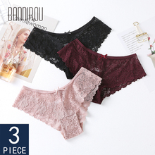 3 Pcs Panties For Woman Underwear Sexy Lace Breathable Female Panty Transparent Briefs Women M-XXL 2019 BANNIROU