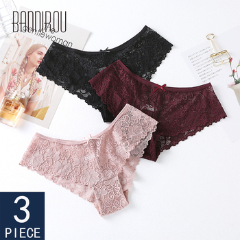 BANNIROU Womens Underwear Panties Sexy Lace Bow Breathable Female Transparent Briefs High Quality 3 Pcs Free Shipping