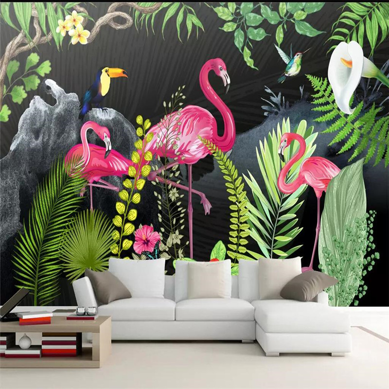 Hand painted tropical rainforest flamingo living room sofa background professional making mural photo wallpaper in Fabric Textile Wallcoverings from Home Improvement