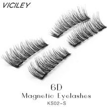 VICILEY Hot 3D Double Magnetic Eyelashes Magnet False Eyelashes Full Strip Magnetic Cilia Eyelash Reusable Eye Lashes KS02-SY