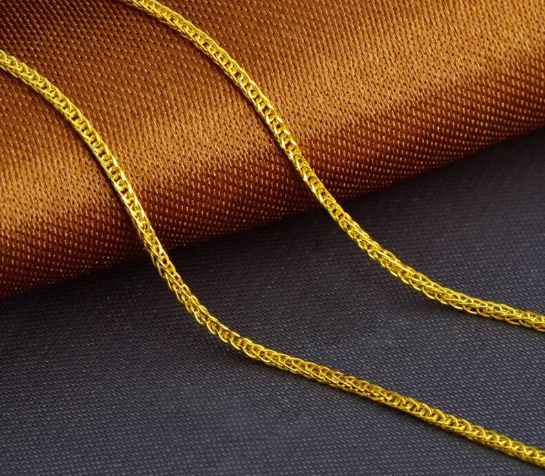 Solido Oro Giallo Collana/Uomini e Donne Perfetto Grano Catena/1.7-2.2gSolido Oro Giallo Collana/Uomini e Donne Perfetto Grano Catena/1.7-2.2g