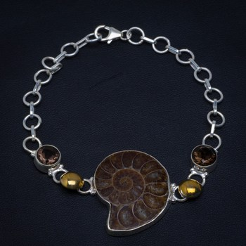 """Natural Two Tones Ammonite Fossil and Smoky Quartz 925 Sterling Silver Bracelet 6 1/4-8"""" Y0103"""