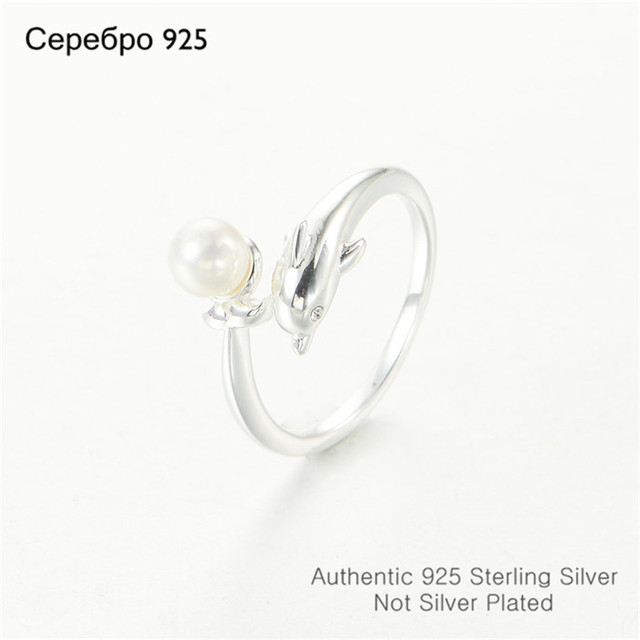 Open Fashion Dolphin Ring With Clear CZ Stones & Pearl For  Women  Sterling Silver DIY Jewerly  Wholesale Factory Price 2015
