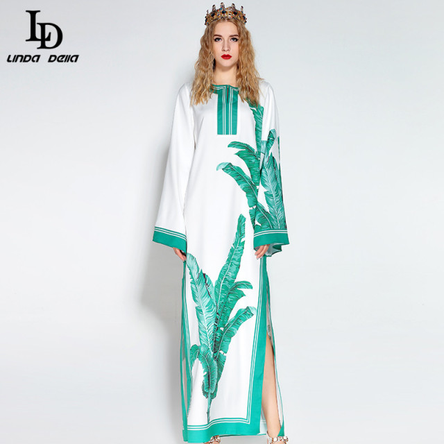 Elegant Women Maxi Dress Flare Sleeve Beach Bohemian Plantain leaves Print Casual Loose Long Dress