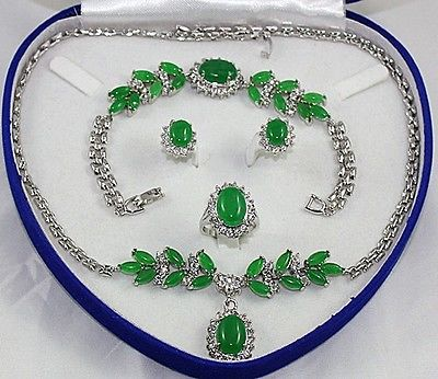 new Style Hot sale***Silver-tone hot-set jade   jade   oval Necklace Bracelet Ring Earring Fashion Wedding Party Jewellerynew Style Hot sale***Silver-tone hot-set jade   jade   oval Necklace Bracelet Ring Earring Fashion Wedding Party Jewellery