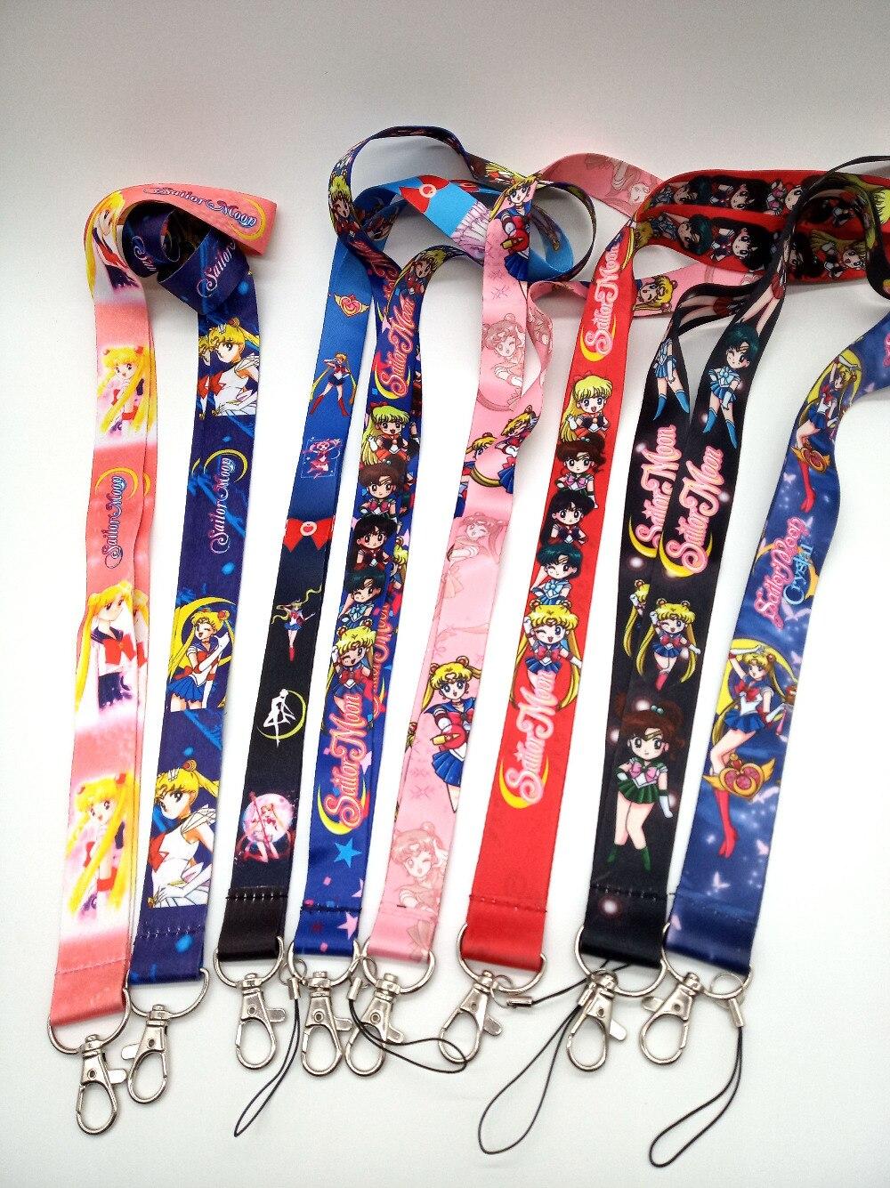 Hot Sale 50 pcs Popular Sailor Moon Japanese anime Lanyard Key Chains Neck lanyard Gifts Party