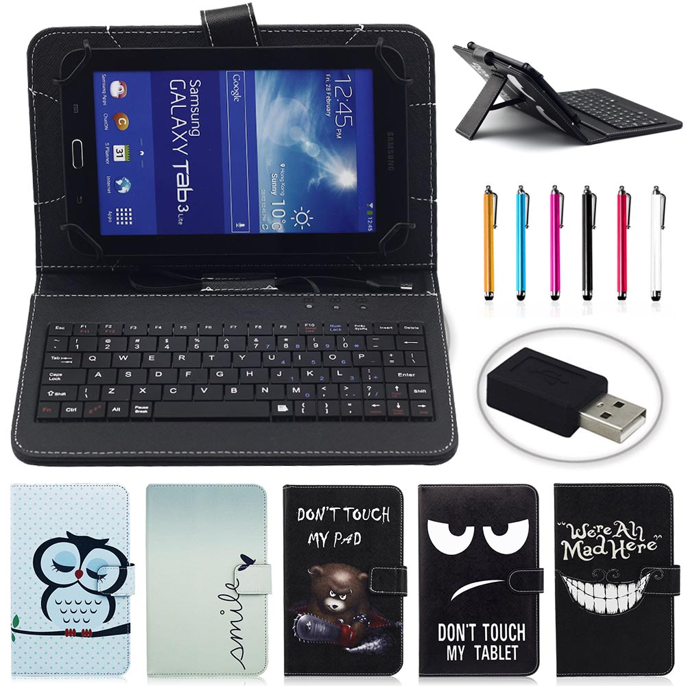 Universal PU Leather Material Stand Case With Micro USB Keyboard 10