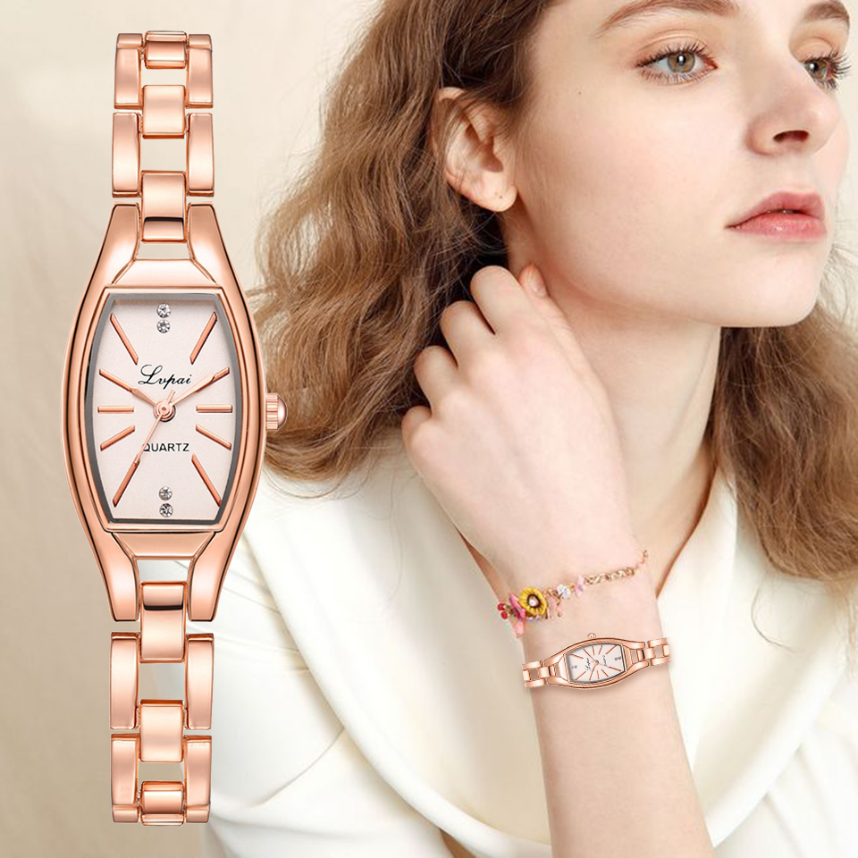 LVPAI Rose Gold Casual Quartz Ladies Bracelet Wristwatches New Arrive Creative Women Fashion Luxury Watch Dress Quartz Clock