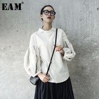 EAM 2018 New Spring Summer Lapel Long Lantern Sleeve Fold Split Joint White Loose Shirt