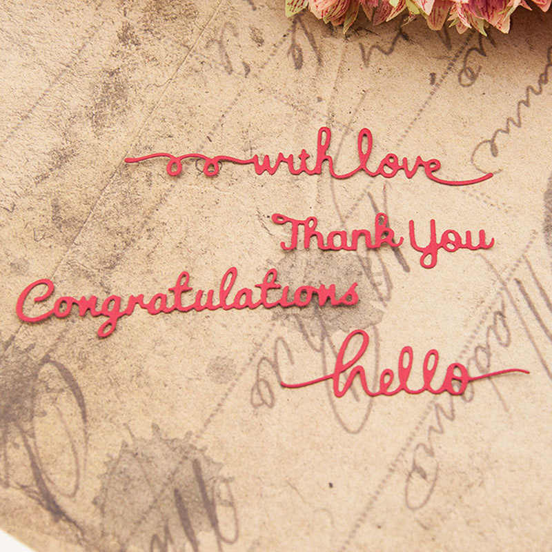 Hello Thank You Congratulation Words Metal Cutting Dies Stencils DIY Scrapbooking/photo Album Decorative Embossing Paper Cards