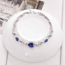 Bling-World Women Jewelry Ocean Blue Crystal Rhinestone Heart Charm Bracelet  Delicate(China) 93f5bdbd0d2e