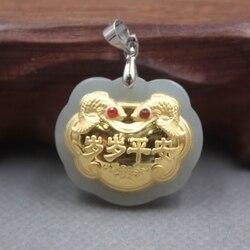 New Belle 24 K Oro Giallo e Hetian Jade Pendant Donne Uomini Bloccare Felicità pace Ciondolo 26x22mm
