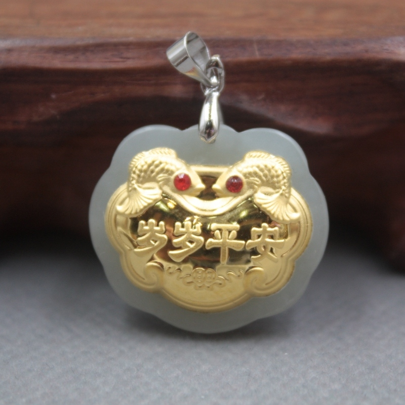 New Fine 24K Yellow Gold & Hetian Jade Pendant Women Men  Lock Happiness Peace Pendant 26x22mm