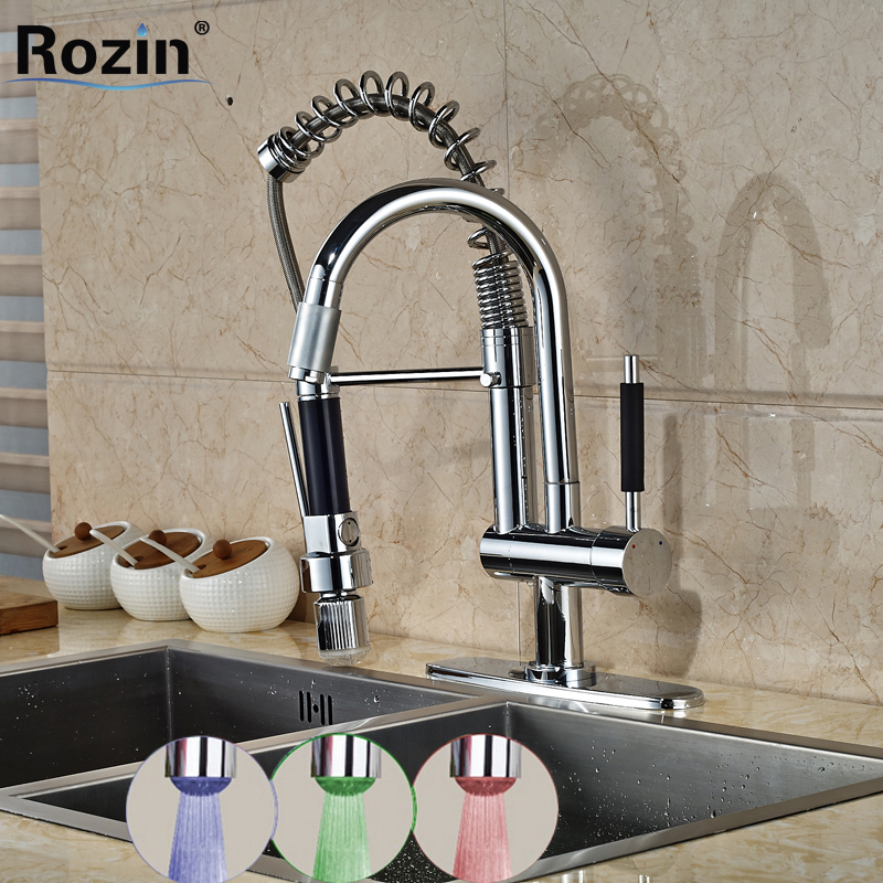 2016 Promotion Chrome Kitchen Hot and Cold Water Faucet One Handle Two Spout LED Light Kitchen Mixer Deck Mounted