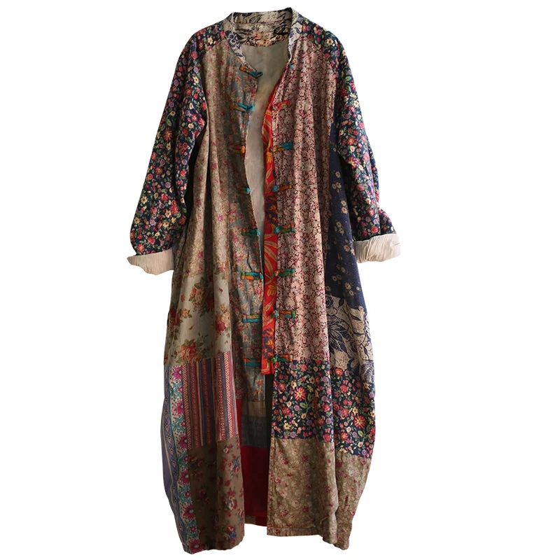 Johnature Women Print Floral   Trench   Vintage Coats 2018 Autumn New Stand Long Sleeve Loose Chinese Style Cotton Linen   Trench   Coat