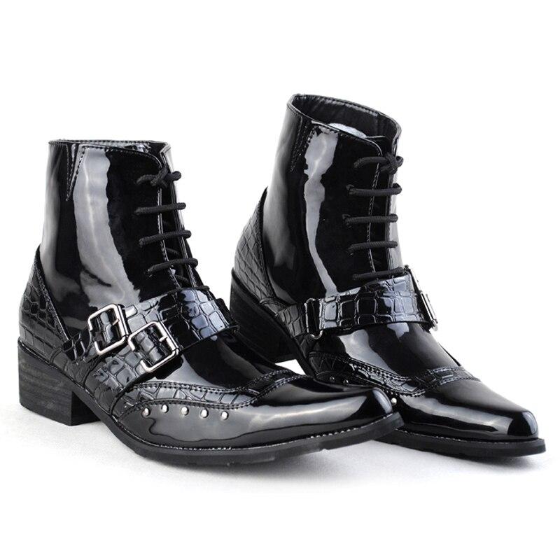 High Base 2018 En Lacent Bottes Black Top Noir Hombre Pu De Zapatos Cheville Design Homme Cuir Chaussures Zip Mode Robe Hommes kTOuiXwPZ
