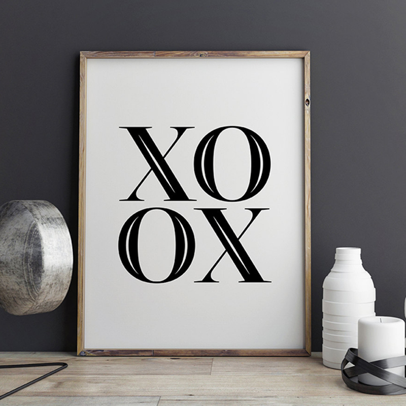Black And White Nursery Wall Decor : Xoxo canvas wall art scandinavian printable poster black